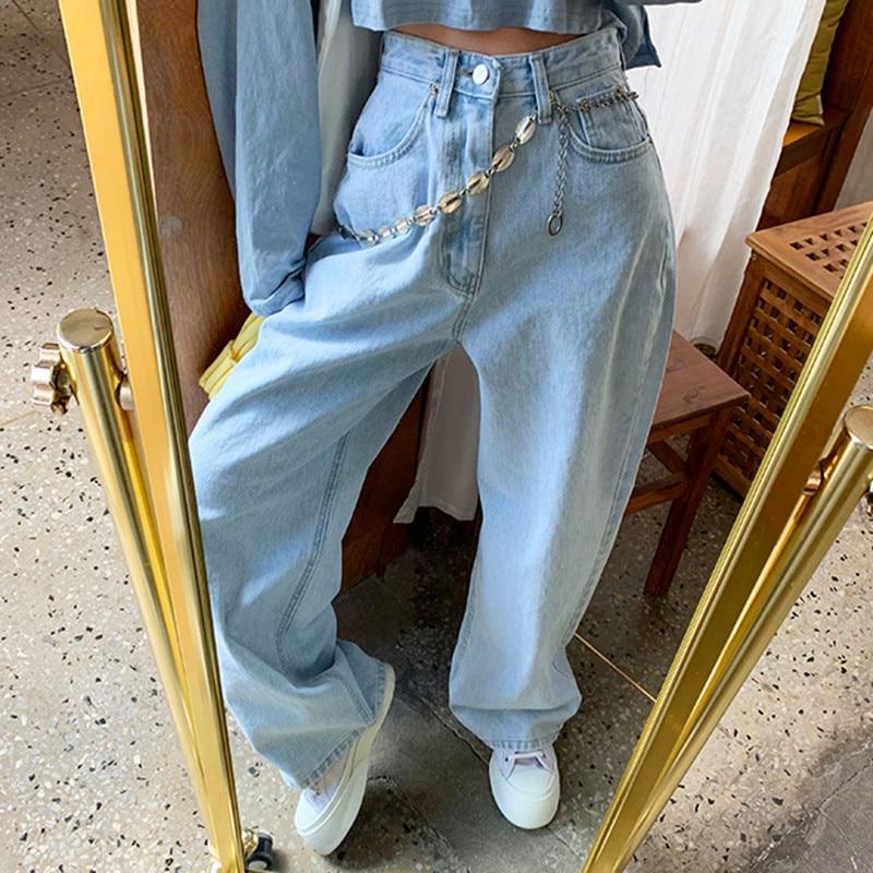 Корейские ретро брюки с высокой талией светло-голубые широкие брюки женские прямые джинсы скинни джинсы женские джинсы джинсы cerruti джинсы скинни