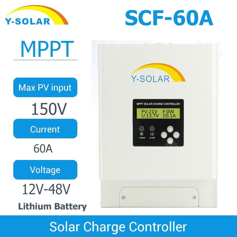 MPPT 60A الشمسية جهاز التحكم في الشحن 12 فولت 24 فولت 36 فولت 48 فولت الشمسية شاحن بطارية تحكم شاشة الكريستال السائل المزدوج مروحة التبريد
