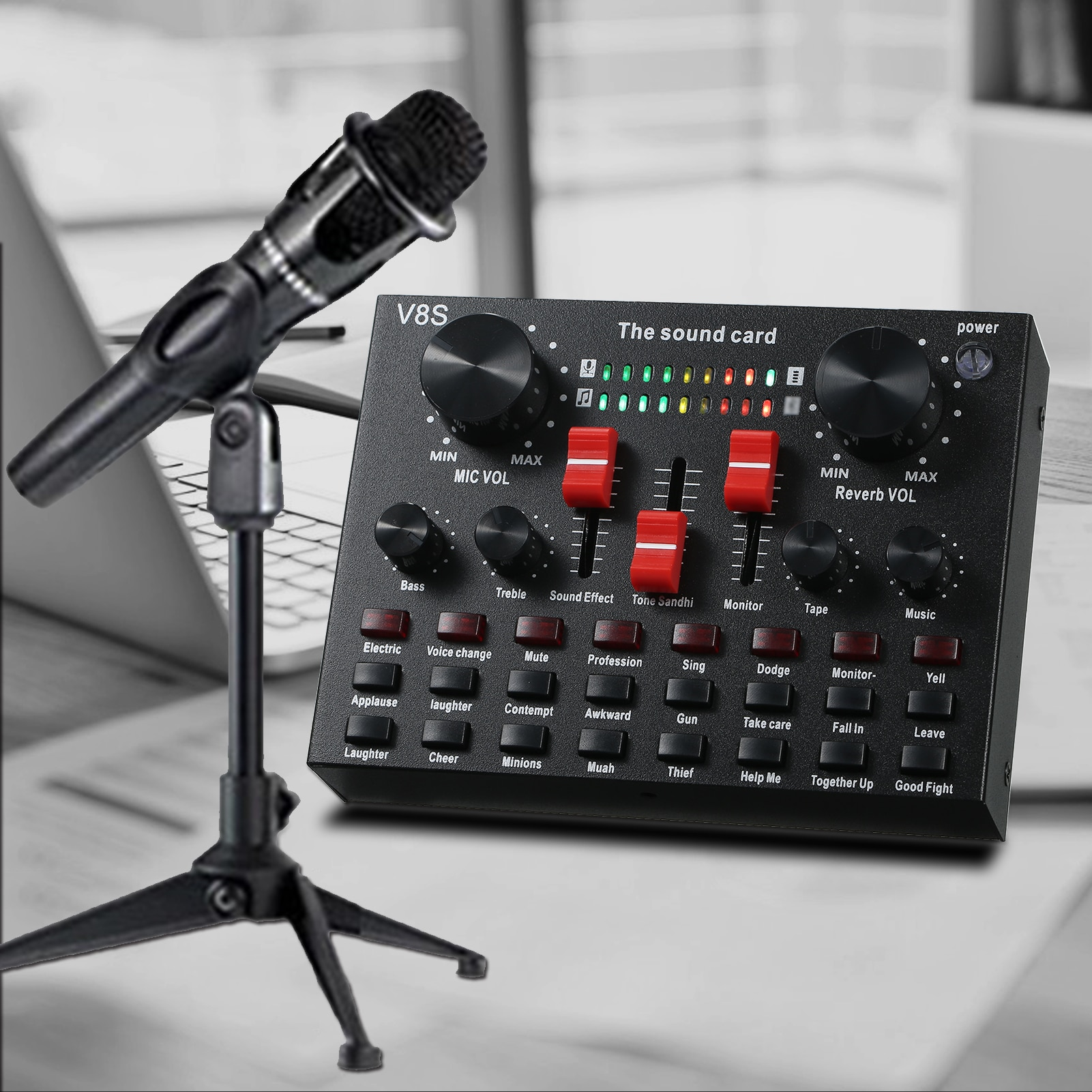 V8S Live Sound Card Microphone Set 8 Modes Audio Recording Live Streaming Equipments