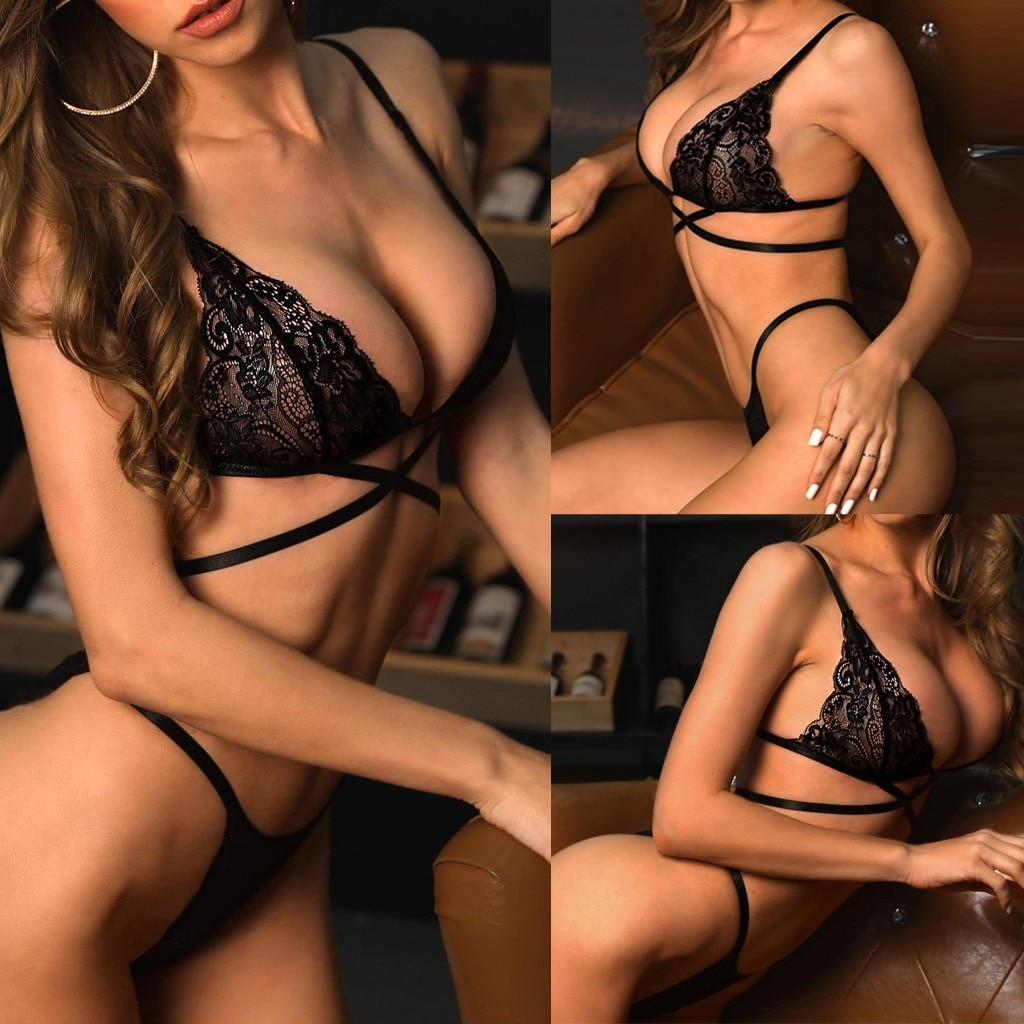 Fashion Women Lace Push Up Top Bra Underpant Set Sexy Bandage Lingerie Sleepwear Sexy Comfortable Pajamas Lingerie Set