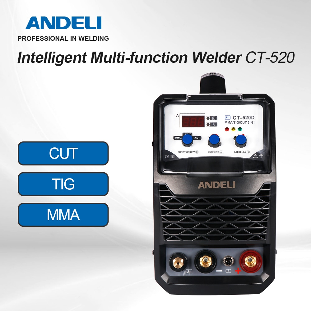 ANDELI الذكية المحمولة مرحلة واحدة ذكي متعدد الوظائف آلة لحام CT-520 220 فولت قطع/MMA/TIG 3 in1 متعددة الوظائف لحام