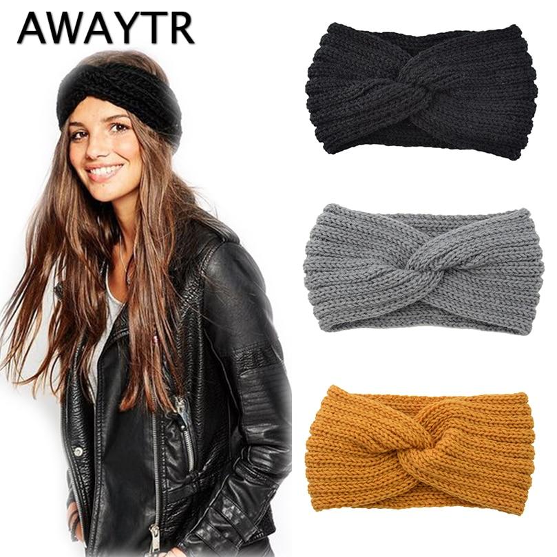 Diadema de punto con nudo cruzado para mujer de AWAYTR, accesorios para el cabello de otoño e invierno para niñas, accesorios elásticos para el cabello