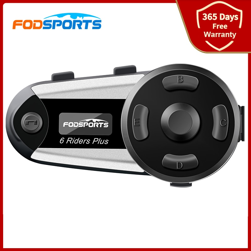 Fodsports-سماعة رأس بلوتوث V6 Plus للدراجات النارية ، وجهاز اتصال للخوذة ، ونظام اتصال داخلي لاسلكي ، وشاشة OLED ، وراديو FM ، وستيريو عالي الدقة