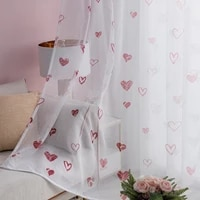 korean curtains for living dining room bedroom love tulle fresh and elegant baywindow screen finished productcustomization tulle