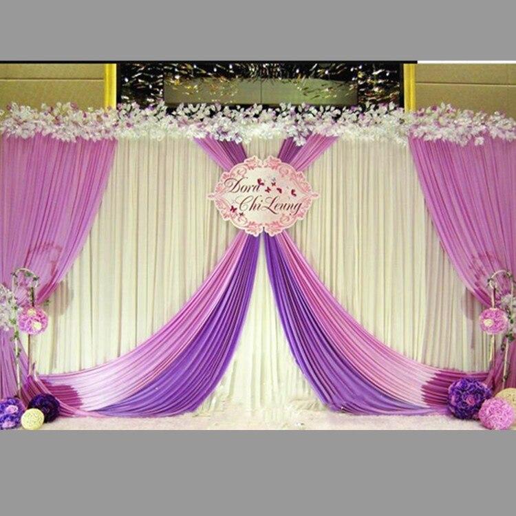 3*6 متر الأرجواني غنيمة الأبيض الجليد الحرير الزفاف خلفية الستائر حفل زفاف الحدث حفلة صور المرحلة الستائر الديكور