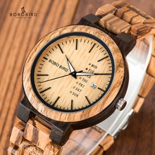BOBO BIRD Wood Watch Men relogio masculino Week and Date Display Timepieces Fashion Casual Wooden Cl