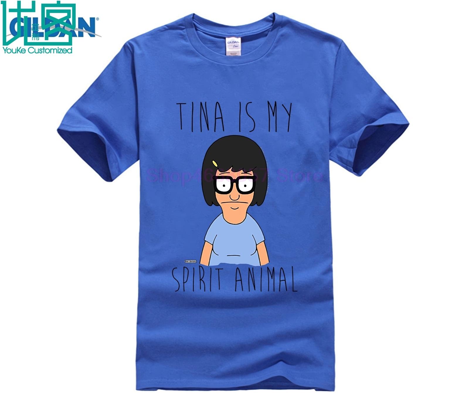 100% de algodón estampada de cuello redondo Camiseta Bobs hamburguesas Tina es mi espíritu Animal