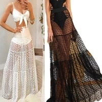 two batch european and american gauze splicing skirt perspective point 100 pleats eastic waist skirt