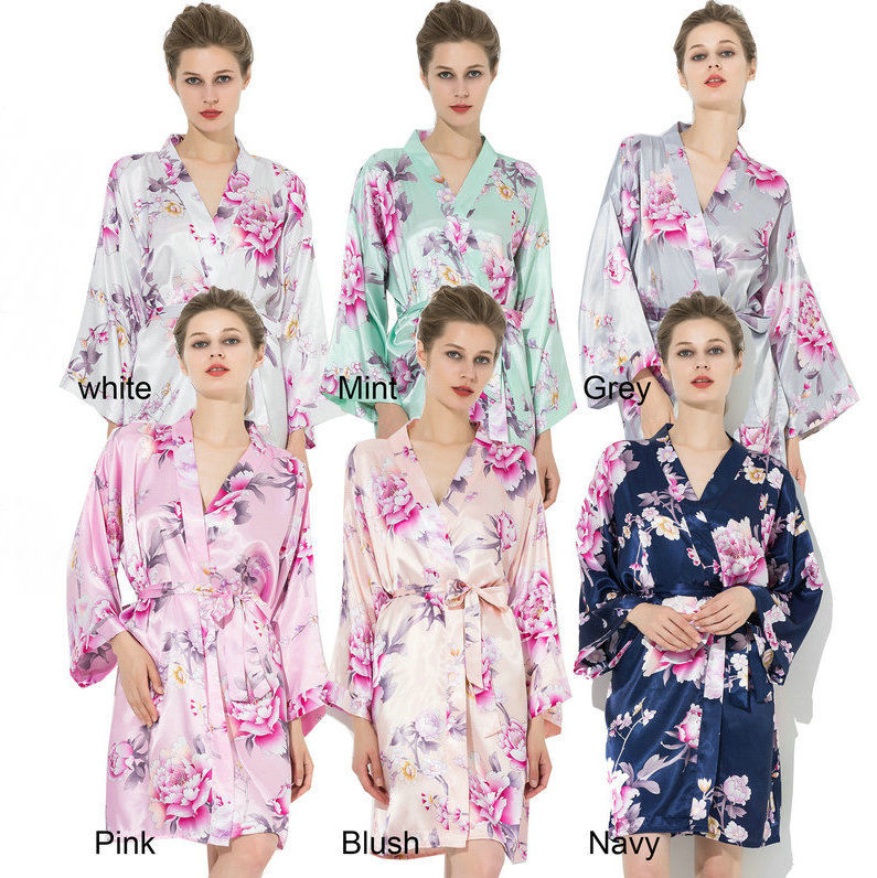 silk satin floral robe New Women Large Wedding bridal bridesmaid robes for women