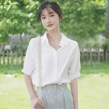 Silk Khaki 2020 New Style Loose Puff Sleeves Polo Collar Shirt Design Blouse Solid Color Short Sleev