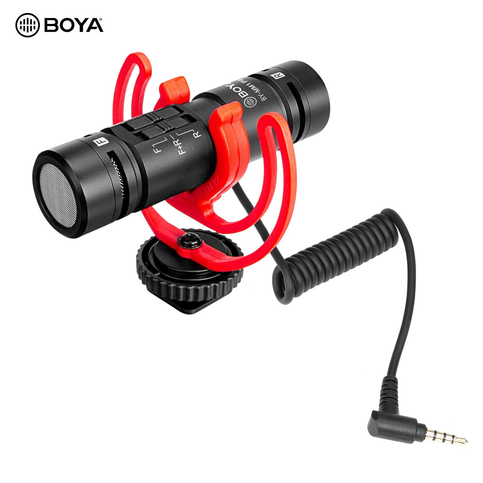 بويا BY-MM1 MIC برو المزدوج رئيس الفيديو ميكروفون مع 3.5 مللي متر TRRS التوصيل الباردة حذاء صدمة جبل للهواتف الذكية DSLR كاميرا ميكروفون