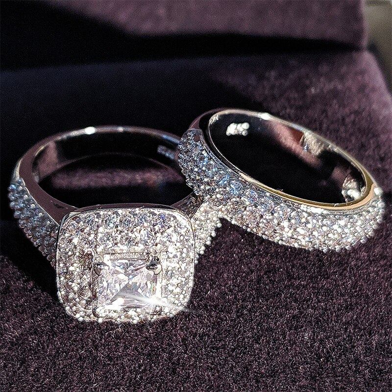 Cor de prata de luxo branco cubo cz pedra banda anel conjunto para mulheres casamento nupcial noivado amor promessa par jóias