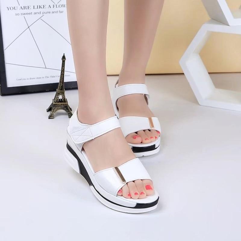 Summer Hot Sale Genuine Leather Women's Wedges Sandals White Black Classic Ankle Strap Platform Sandals Ladies Shoes
