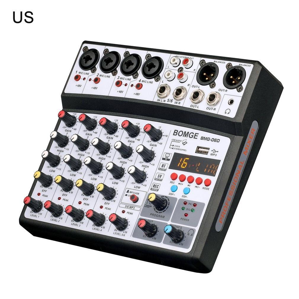 لاسلكي 6 قناة جهاز مزج الصوت المحمولة خلط وحدة التحكم USB واجهة كارت الصوت مع 16 DSP صدى خلاطات الطاقة