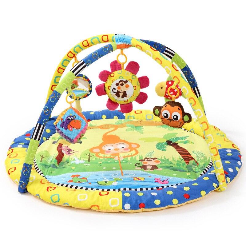 Alfombrilla de algodón suave Invert Monkey de 90x90x50CM para juegos de bebés, 5 juguetes educativos para actividad del bebé, colchoneta para gatear en el gimnasio