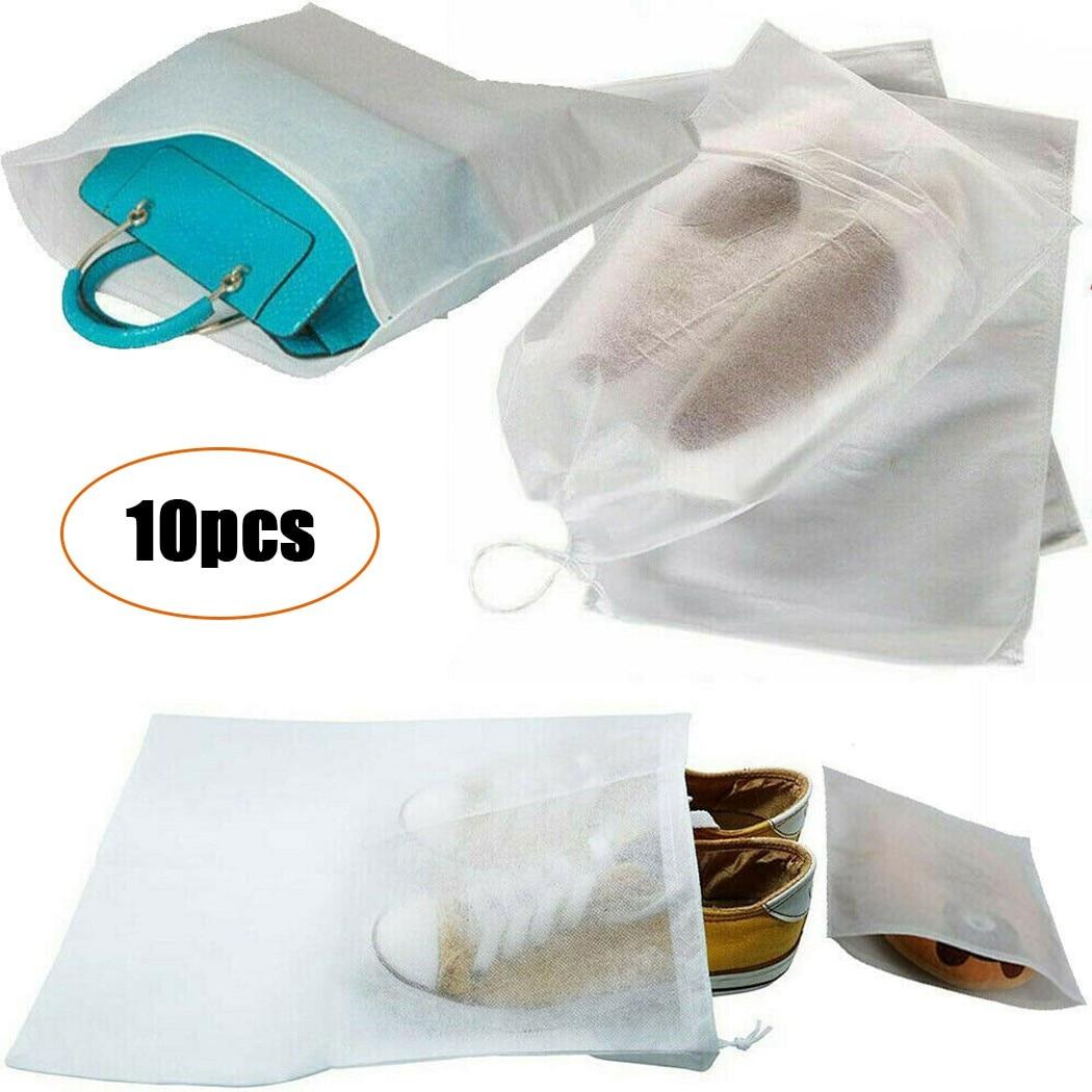 Мешки на шнурке из нетканого материала, белые портативные дорожные мешки для хранения пыли, с застежкой-молнией, самозакрывающийся мешок дл...