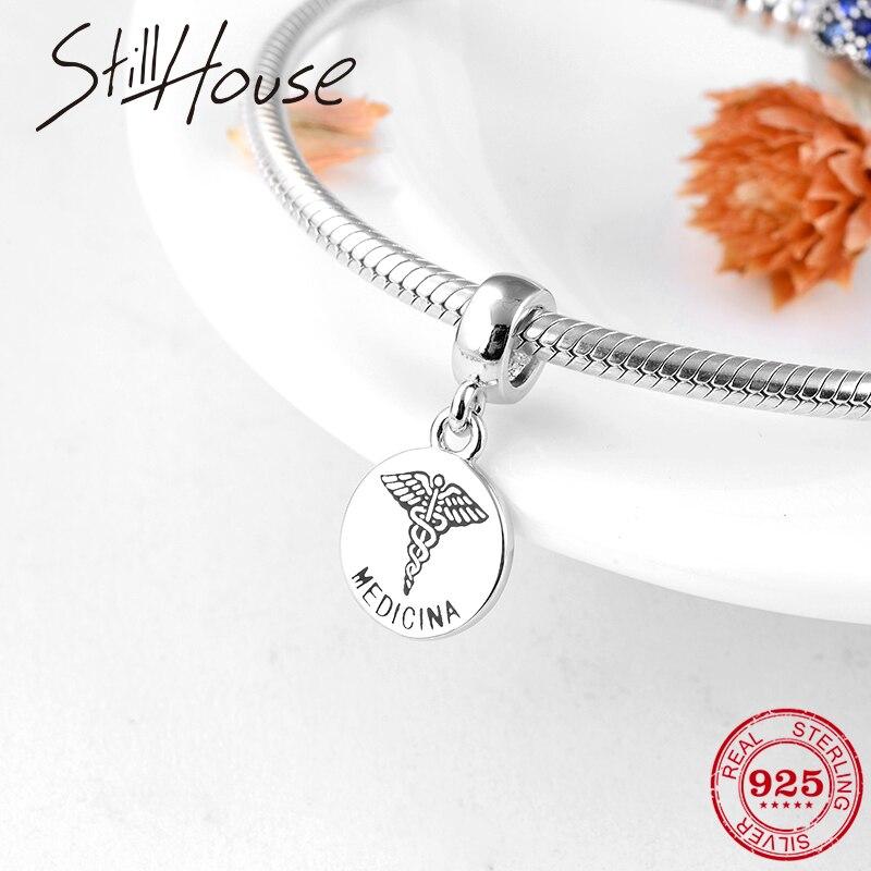 925 prata esterlina quente medicina sinal encantos para fazer jóias pingentes caber original pandora charme pulseiras colar