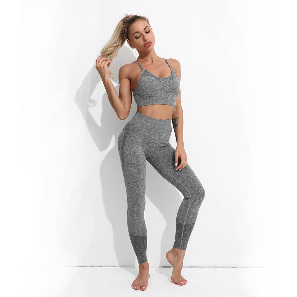 Women Fitness Yoga Set Ropa Deportiva Mujer Gym Clothing Track Suit High Waist Pants Sports Bras Workout Set Seamless Leggings