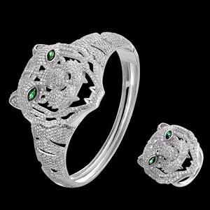Zlxgirl New arrival Tiger Cubic Zircon Bangles ring Jewelry Sets for Party Accessories Jet Enamel animal Bangle&ring bijoux sets
