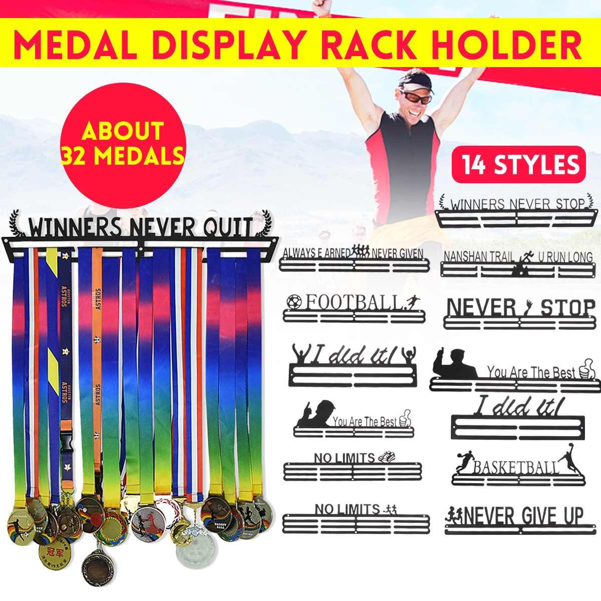 16 estilo multi-estilo medalha pendurado titular rack cabide suporte ganchos de parede ferro triathlon correndo esporte desafio escritório em casa