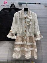 2020 robes de luxe femmes haute couture automne hiver Patchwork robe de piste