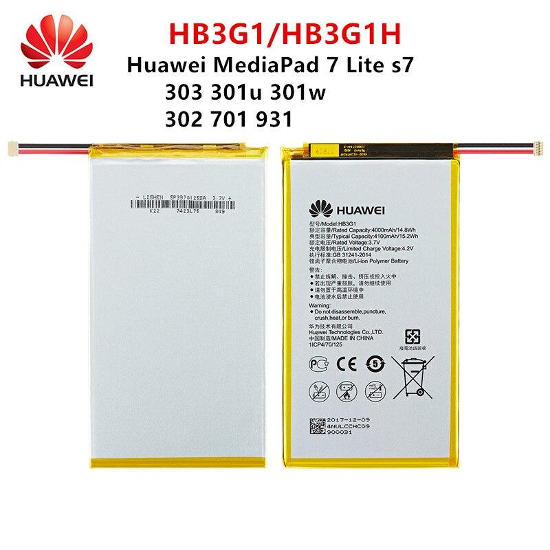 100% original HB3G1/HB3G1H batería de 4000mAh para Huawei S7-303 S7-931 T1-701u S7-301w MediaPad 7 Lite s7-301u S7-302