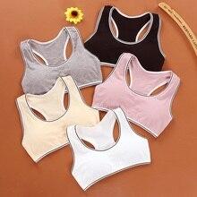 Soutien-gorge tubulaire à large sangle pour filles, sous-vêtements avec coussinet de poitrine, pour entraînement sportif, puberté