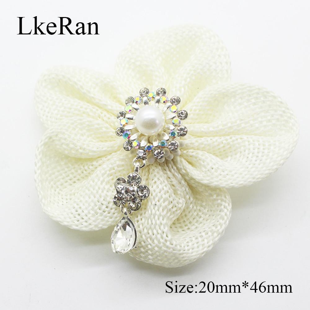 Lote de 5 unidades creativas, botones de perlas en forma de flor de 20mm x 46mm, colgantes de diamantes de imitación para decoración de bodas, broche de Metal para manualidades de joyería DIY
