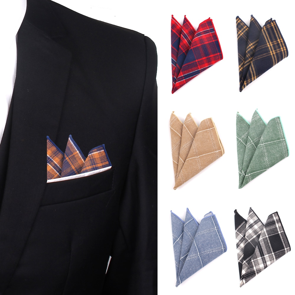 Клетчатый Карманный Квадратный Платок для мужчин, Повседневный хлопковый носовой платок, Классический квадратный носовой платок, вечерние...
