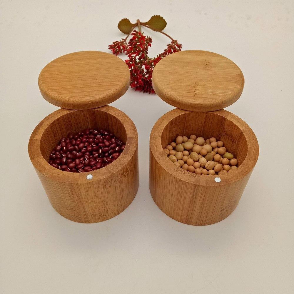Cajas de almacenamiento de 4 uds, caja de sal, caja de madera de bambú con tapa giratoria magnética, contenedor para cocina, contenedores de almacenamiento, caja de sal
