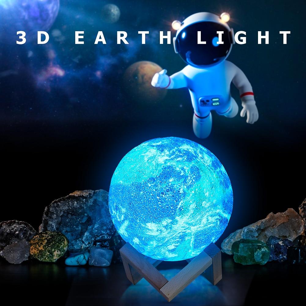 Creative 3D estampado estrella Luna lámpara textura clásica delicado diseño Chic colorido cambio USB recargable Luz De noche junto a la cama