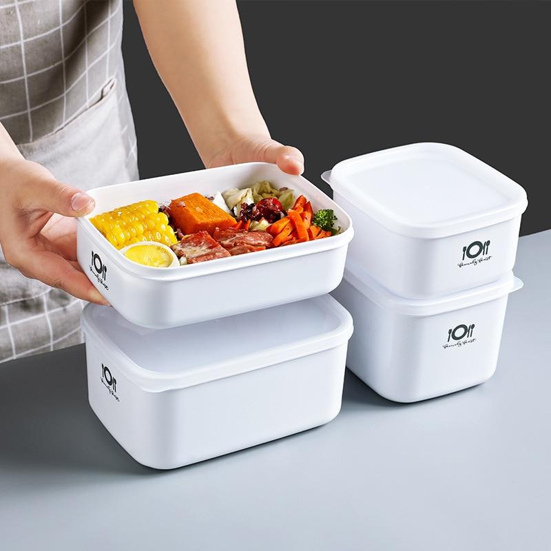 Recipiente de plástico hermético para alimentos, caja de almacenamiento Bento, organizador de almuerzo, artículos de cocina, organizador de accesorio para refrigerador