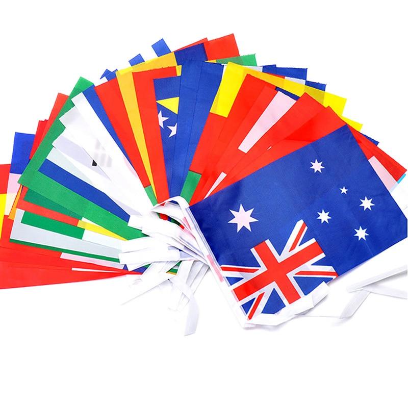 1 Juego de bandera del país de la Copa del Euro banderines de cuerda 24 países bandera colgante de fútbol Garland decoración del hogar tienda decoración de la calle