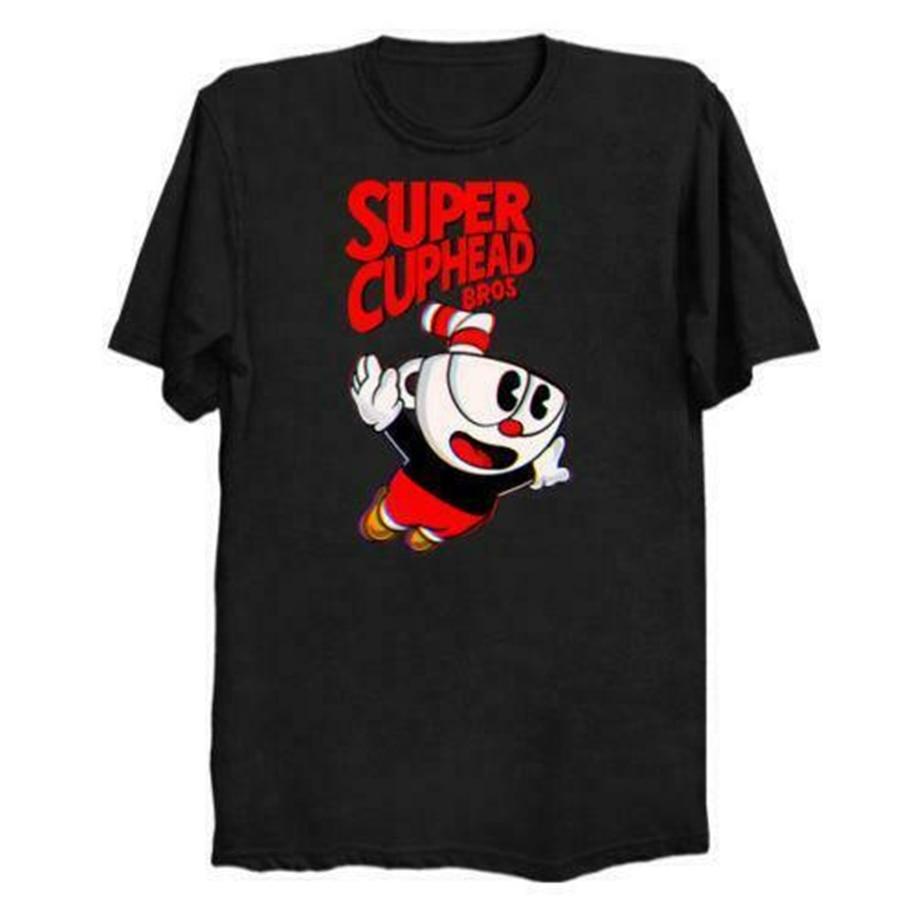 Super Cuphead Bros hombres negro camiseta camisetas ropa hombre Camiseta verano O cuello Harajuku divertida camiseta