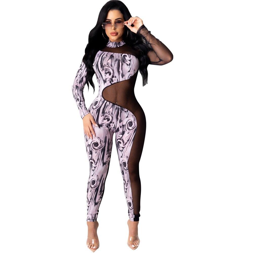 Casual Women Jumpsuit Print Leopard Sheer Mesh Backless Party Night Clubwear Bodysuit Romper Women Jumpsuit