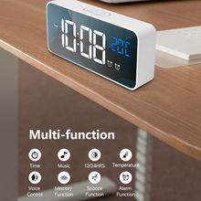 Réveil miroir affichage numérique   Chargeur USB, commande vocale, petite horloge intelligente muette, pour décor de salon