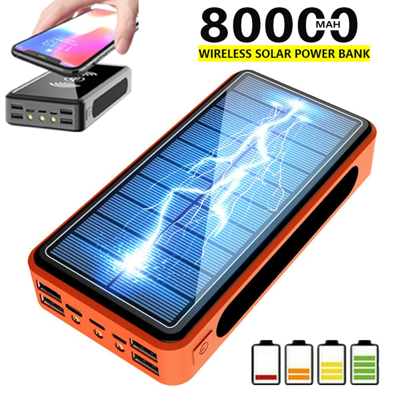Portable 4USB LED 80000mAh Wireless Solar Power Bank External Battery PoverBank Powerbank Mobile Phone Charger for Xiaomi Iphone