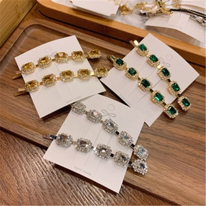 Adult Women Green Crystal Barrettes Hairpins Hair clips Fashion Korean Lady Girl Head wear Accessories Wholesale Gifts Party