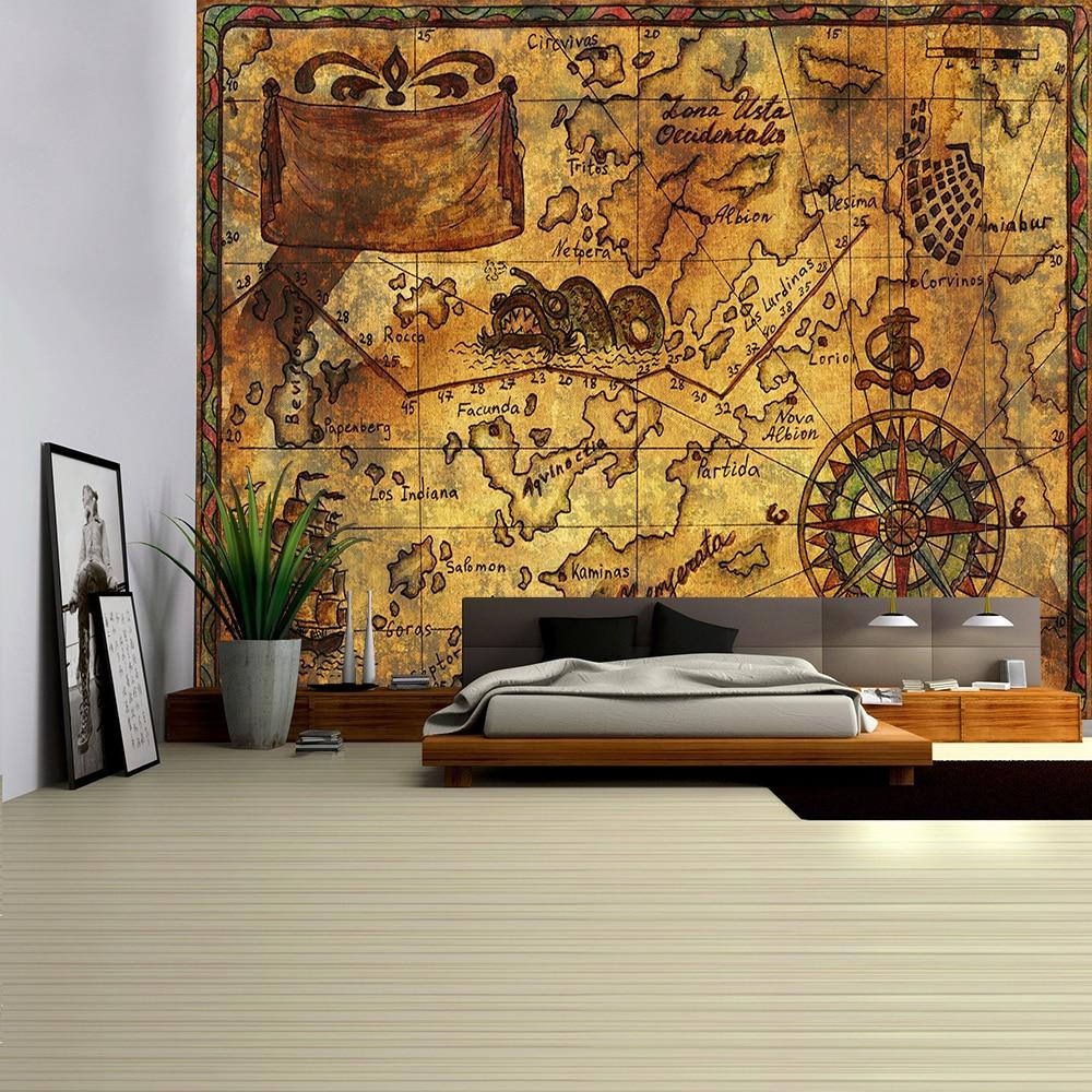 Навигационная карта гобелен Пиратская Карта сокровищ подвесной Декор Акварельная карта надпись полиэстер покрытие стола Йога пляжное полотенце