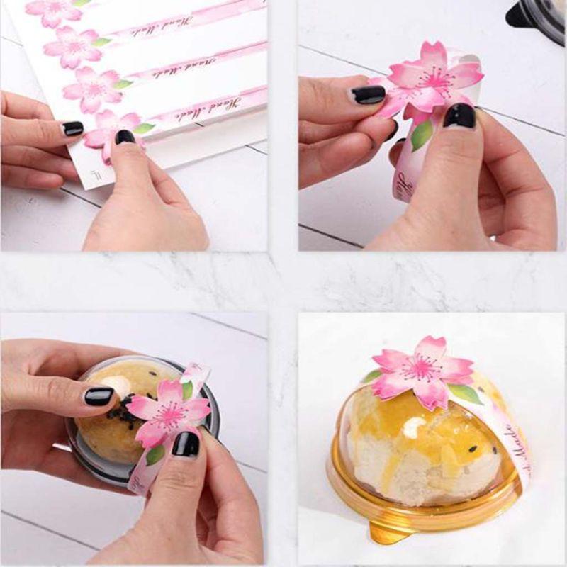 80 Uds., tira de etiquetas adhesivas para repostería crujiente de yema de huevo de cerezo Sakura, paquete de pastel de Luna, caja de decoración DIY, suministros hechos a mano para panadería