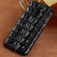 real crocodile leather phone case for oppo reno ace 5 4 2 find x3 x2 pro a9 cover for realme 7 8 pro xt x7 x50 x2 5 6 pro gt neo
