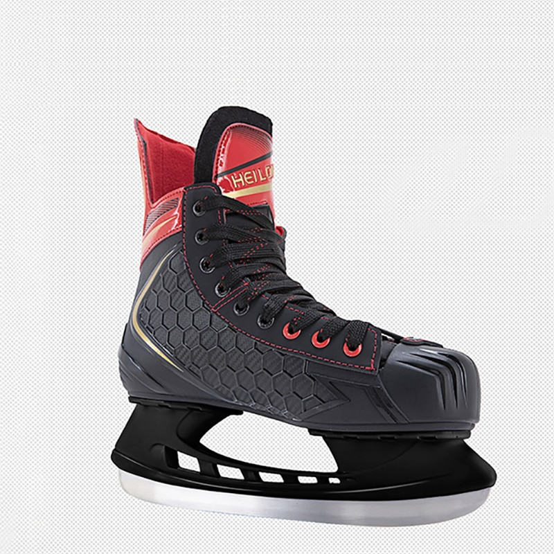 Winter New Fashion Adult Teenagers Professional PU Thermal Thicken Warm Ice Hockey Skating Shoes With Ice Blade For Beginner