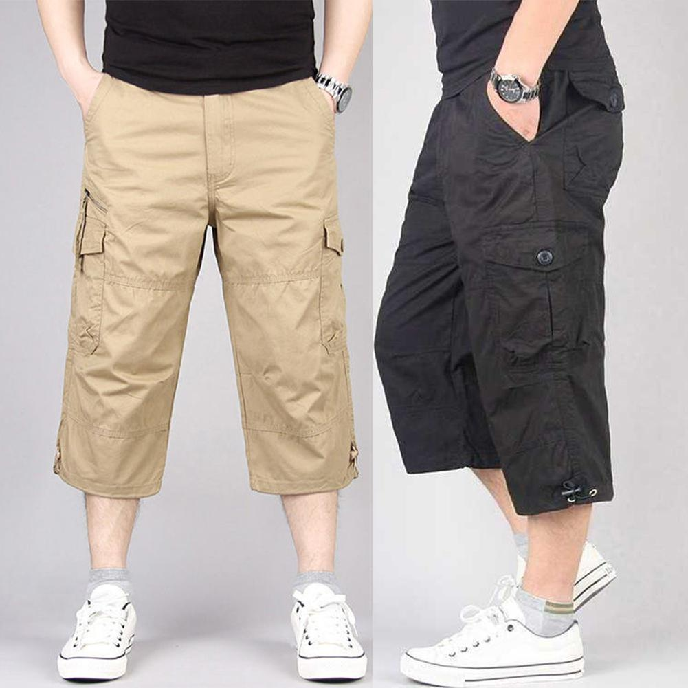 Men Pants Men's Wide leg Harem Pants Men Solid Color Breathable Pocket Loose Straight Capri Cropped
