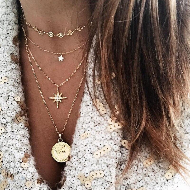 KISSWIFE, Collar con colgante de moneda de pentagrama de cristal bohemio para mujer, nuevo Collar de joyería de moda