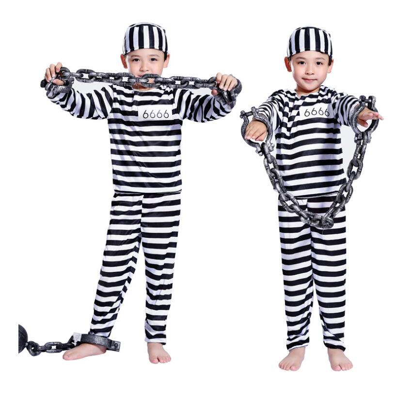 Disfraz de Cosplay de Halloween ropa de niño Niño a rayas prisionero disfraz de Mascarada