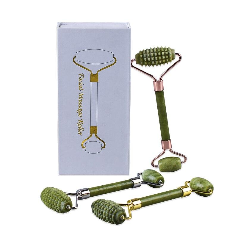 Conjuntos de Caixa De Presente verde Jade Rolo Rosto Com Microagulhas Helu Jade Pedra Boby Massageador Anti Celulite Beleza Da Pele Cuidados de Saúde ferramenta