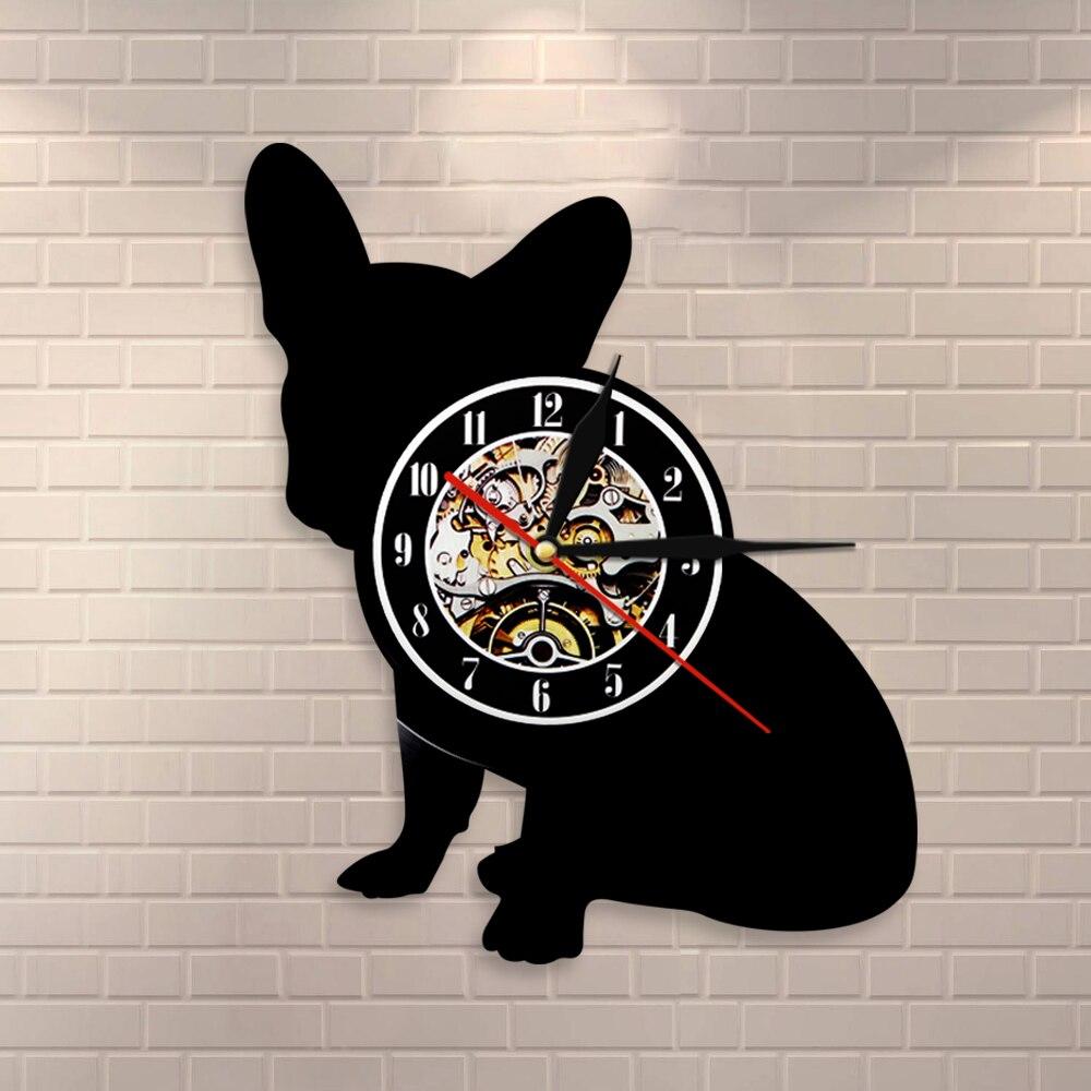 Bulldog Francés Reloj de pared Franco la raza de perro Frenchie perro vinilo registro Reloj de pared cachorro de mascotas para hogar Decoración silueta de perro reloj