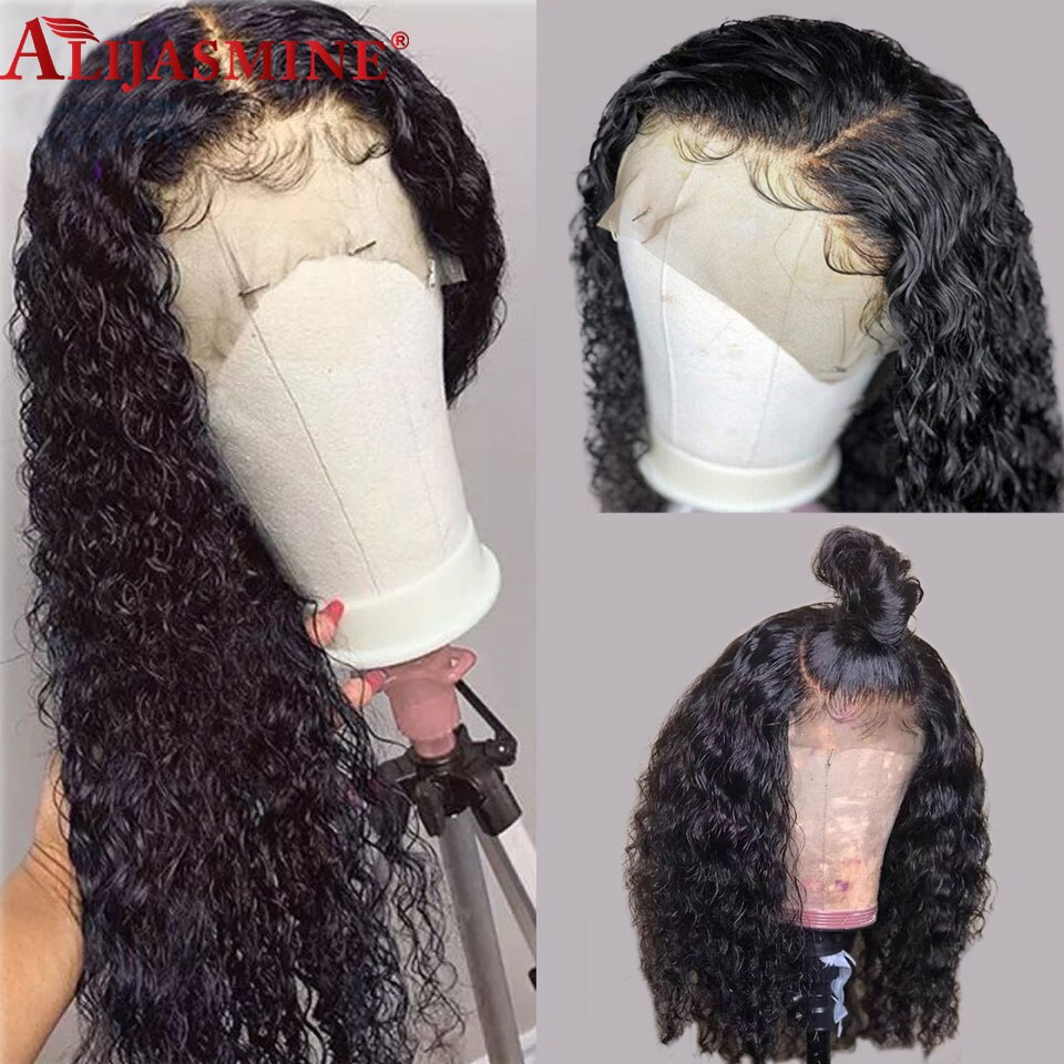 Pelucas delanteras de encaje rizado 13x6 pelucas de cabello humano peruano línea de pelo Pre desplumado con pelo de bebé Remy Natural pelucas negras 13X4
