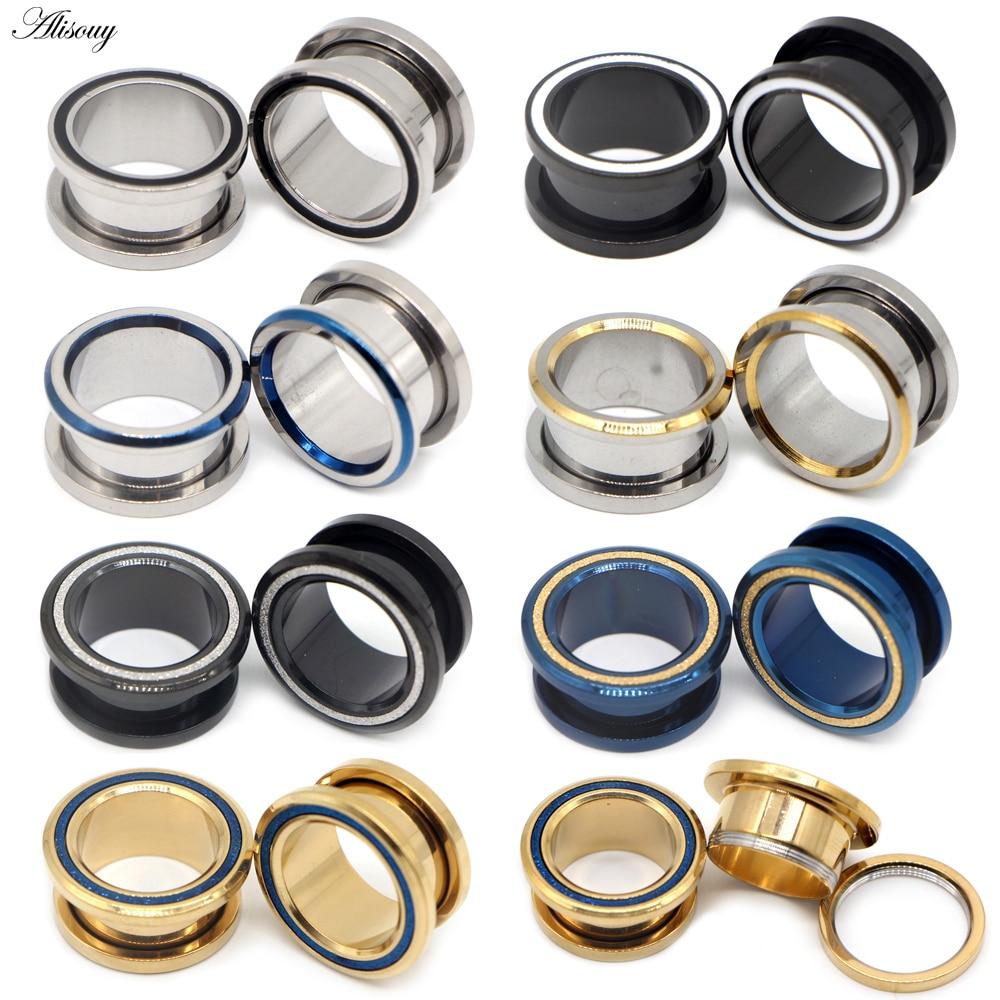 Alisouy 2pc Stainles Steel Ear Plugs Tunnel Flesh Ear Gauges Hollow Piercings Ear Tunnels Expanders Mixed Color Body Jewelry