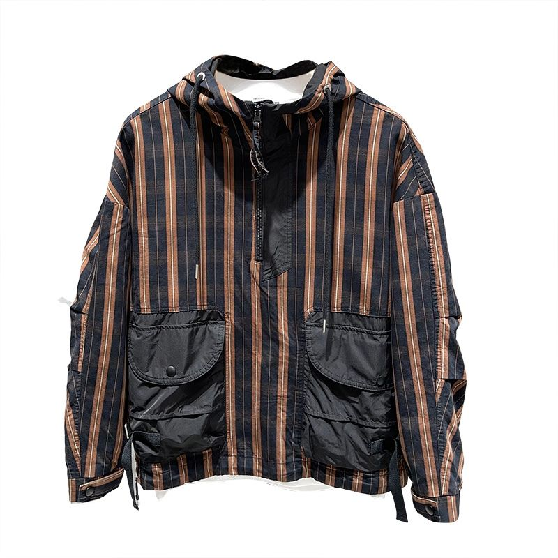 Spring new men's striped hooded coat Korean style loose coat trend youth casual handsome color matching jacket